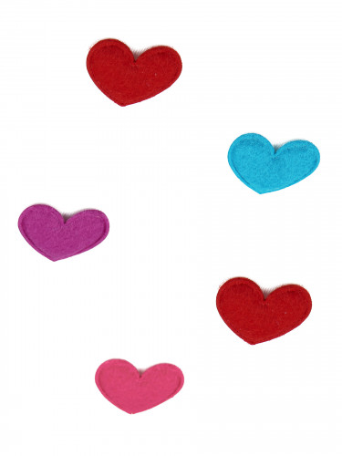20 Confettis de table coeur feutrine Saint Valentin 2.5 cm-1
