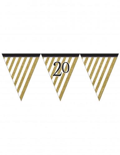 Guirlande à fanions noir et or 20 ans 3,7m