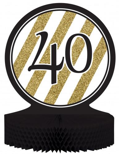 Centre de table 40 ans Anniversaire noir et or