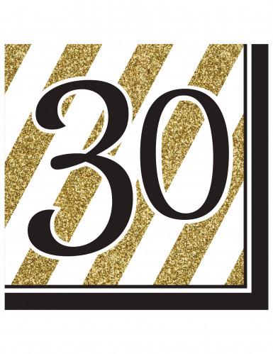 16 Serviettes 30 ans Noir et Or 33 x 33 cm