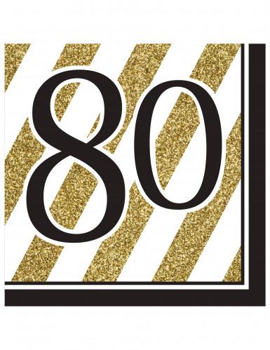 16 Serviettes 80 ans Noir et or