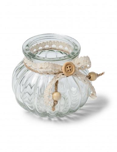 Petit vase à l'ancienne en verre avec liens dentelle
