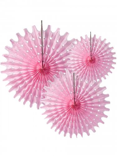 3 Rosaces éventails en papier rose 20, 30 et 40 cm