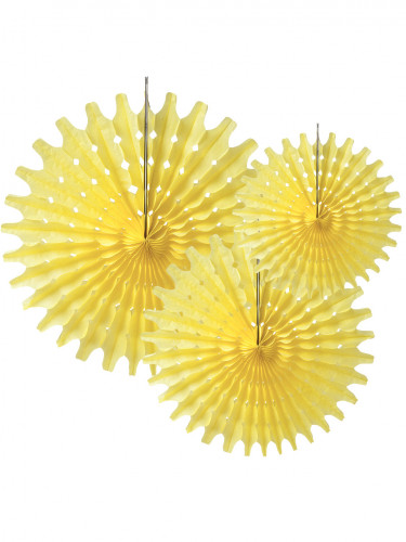 3 Rosaces éventails en papier jaune pastel 20, 30 et 40 cm