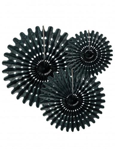 3 Rosaces éventails en papier noir 20, 30 et 40 cm