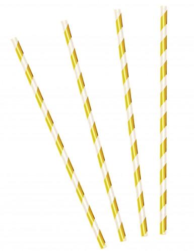 24 Pailles rayées or brillant