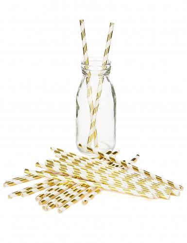 24 Pailles rayées or brillant-1