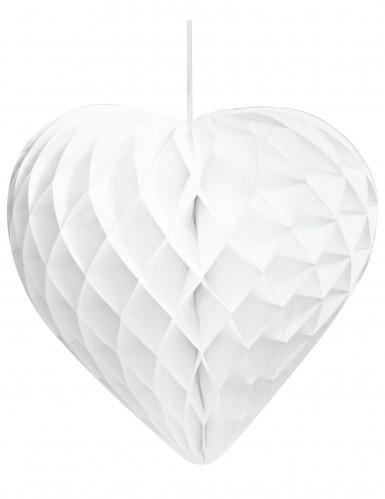 3 Cœurs en papier alvéolé blanc-1
