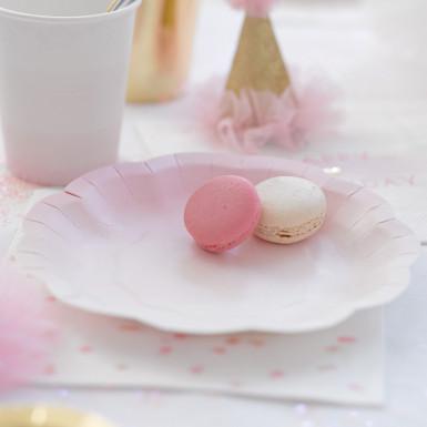 12 Petites assiettes en carton rose et or 17 cm-1