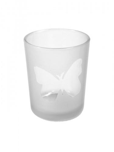 Photophore en verre papillon