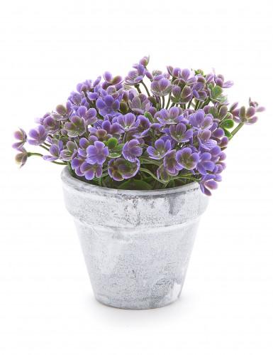 Petit pot fleurs artificielles violettes