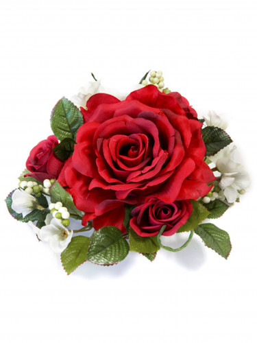 Déco roses rouges artificielles 18 cm
