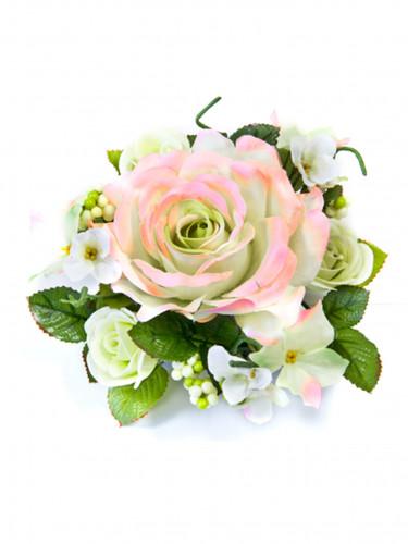 Centre de table fleurs artificielles roses ivoire et roses