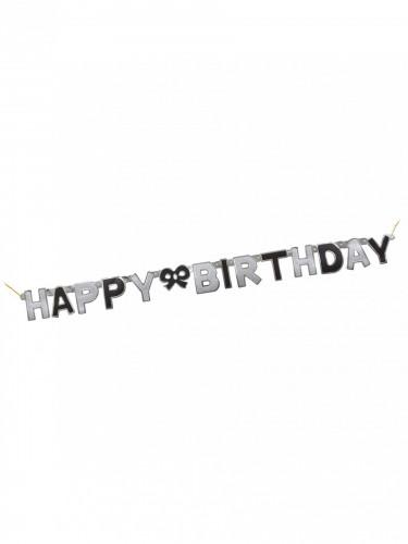 Guirlande articulée Happy birthday noire 127 cm