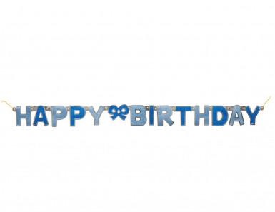 Guirlande articulée Happy birthday bleu 1.27 mètres