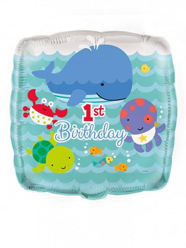Ballon aluminium 1er anniversaire Océan 45 cm