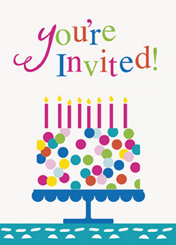 Cartes d'invitation Happy Birthday turquoise
