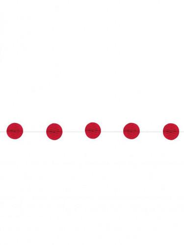 Guirlande boules alvéolées rouges 213 cm
