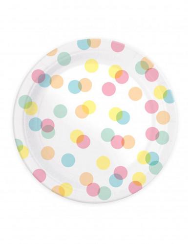 8 Assiettes en carton Confettis pastels 23 cm