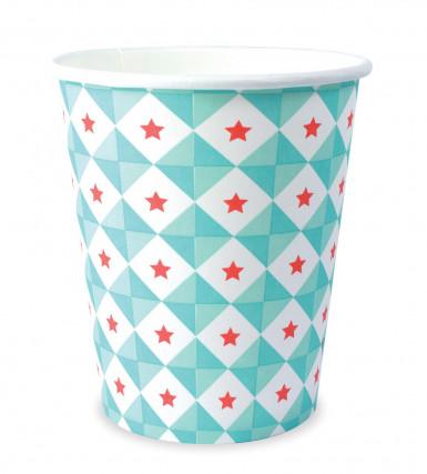 8 Gobelets en carton géométrie bleue 25 cl