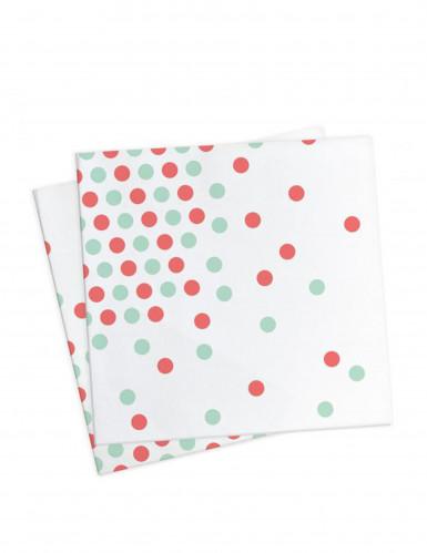 20 Serviettes en papier à pois rouge et vert 33 x 33cm