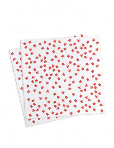 20 Serviettes géométrie étoiles rouges 33 x 33 cm