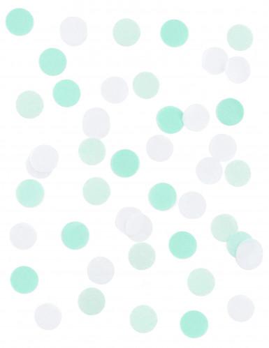 Confettis en papier blanc et vert d'eau 20gr-1