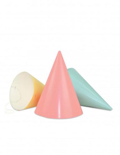 6 Chapeaux pointus multicolores pastel