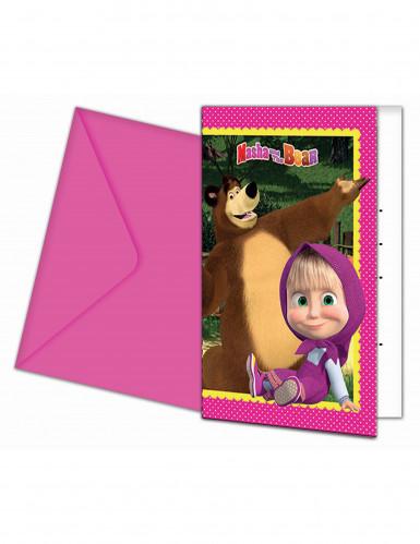 6 Cartes d'invitation + enveloppes Masha et Michka™