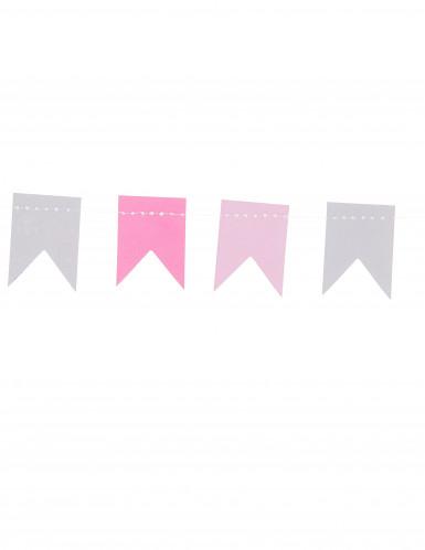 Mini guirlande petits fanions gris et roses 2 m-1