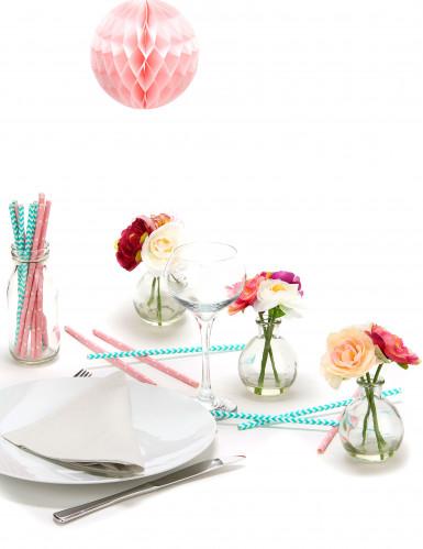 10 Pailles rose bonbon avec étoiles blanches-2