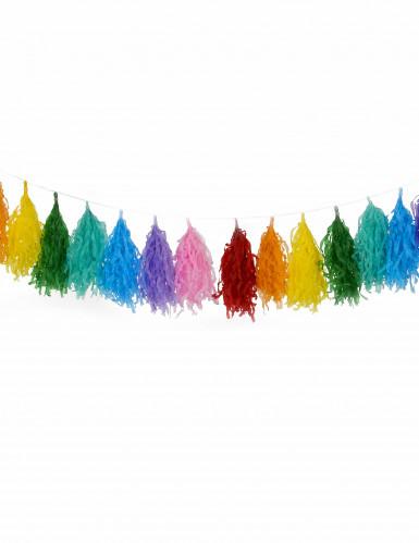 Guirlande tassel 16 pompons multicolores-1