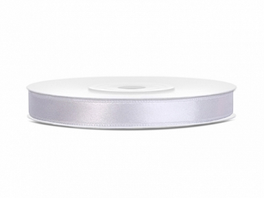 Ruban satin blanc 0.6 cm x 25 m
