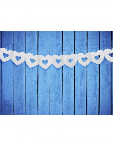 Guirlande papier coeur blanc-1