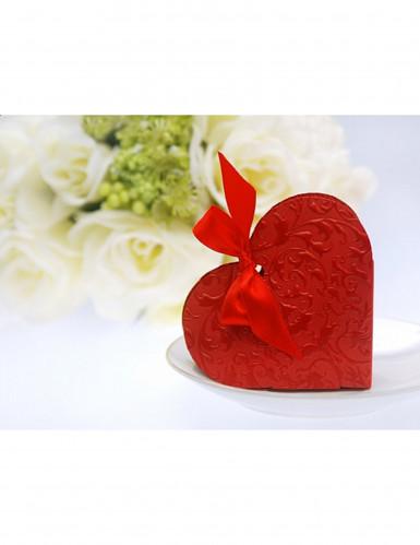 10 Boites à dragées coeur rouge-1