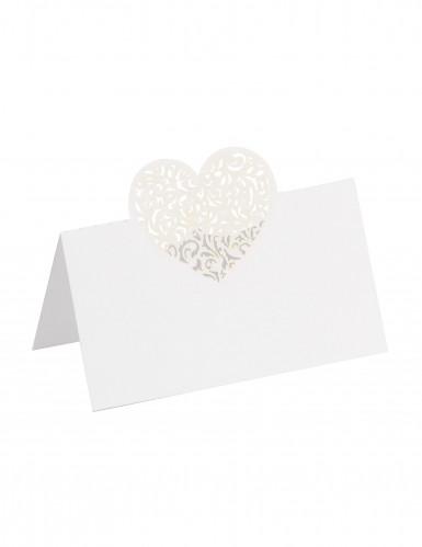 10 Marque-places coeur blancs 9 x 6 cm