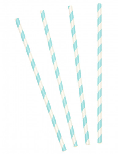 10 Pailles en carton rayées bleu ciel