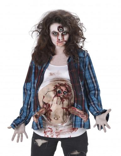 Déguisement zombie ventre en latex femme Halloween-1