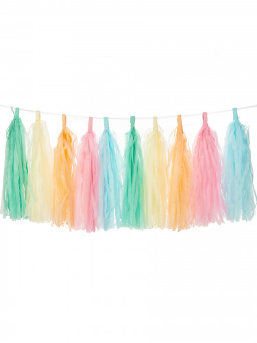 Guirlande tassel 30 pompons arc en ciel pastel