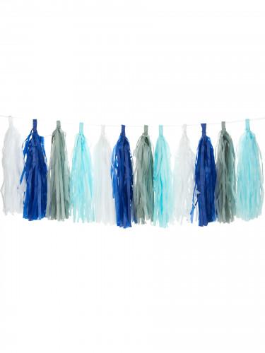 Guirlande tassel 24 pompons bleus, blancs, gris, bleu ciel