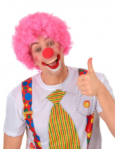 Perruque afro/clown rose standard adulte-1