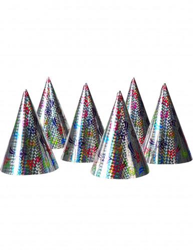 6 Chapeaux de fête holographiques étoiles