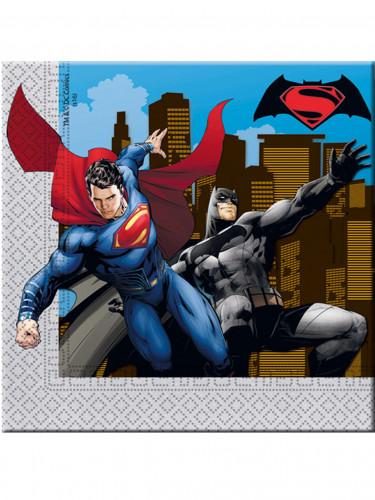 20 Serviettes en papier Batman vs Superman™ 33 x 33 cm