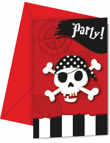 6 Cartes d'invitation + enveloppes carte au trésor pirate