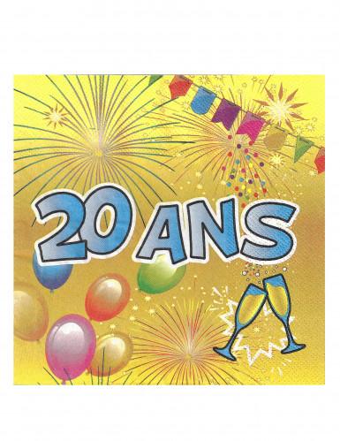20 Serviettes en papier 20 ans Anniversaire Fiesta 33 cm
