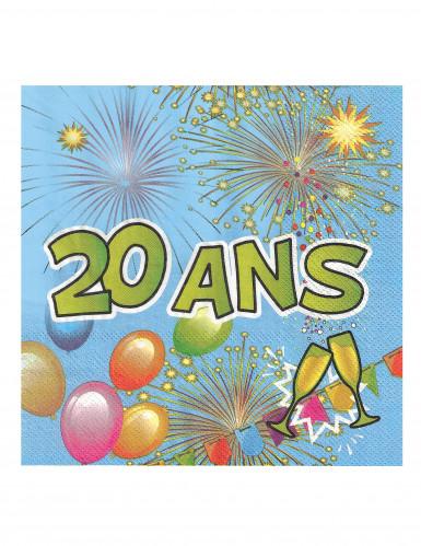 20 Serviettes en papier 20 ans Anniversaire Fiesta 33 cm-1