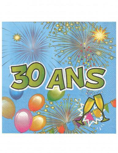 20 Serviettes en papier 30 ans Anniversaire Fiesta 33 cm-1