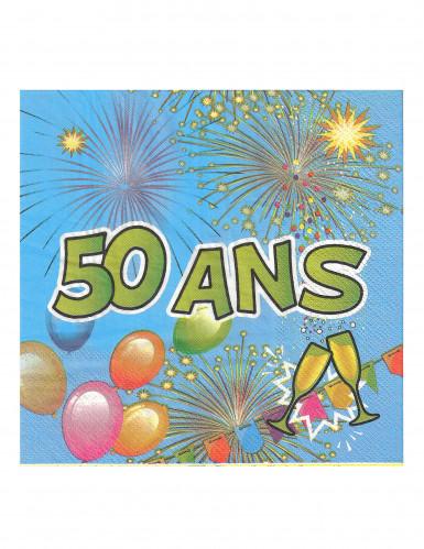 20 Serviettes en papier 50 ans Anniversaire Fiesta 33 cm-1