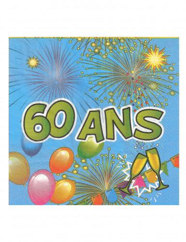 20 Serviettes en papier 60 ans Anniversaire Fiesta 33 cm-1