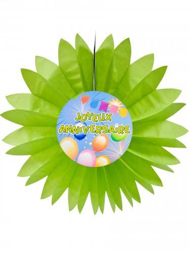 Eventail papier joyeux anniversaire Fiesta vert 50cm